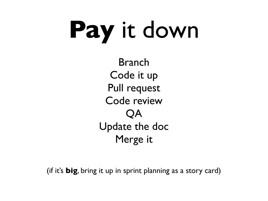 Pay it down Branch Code it up Pull request Code...