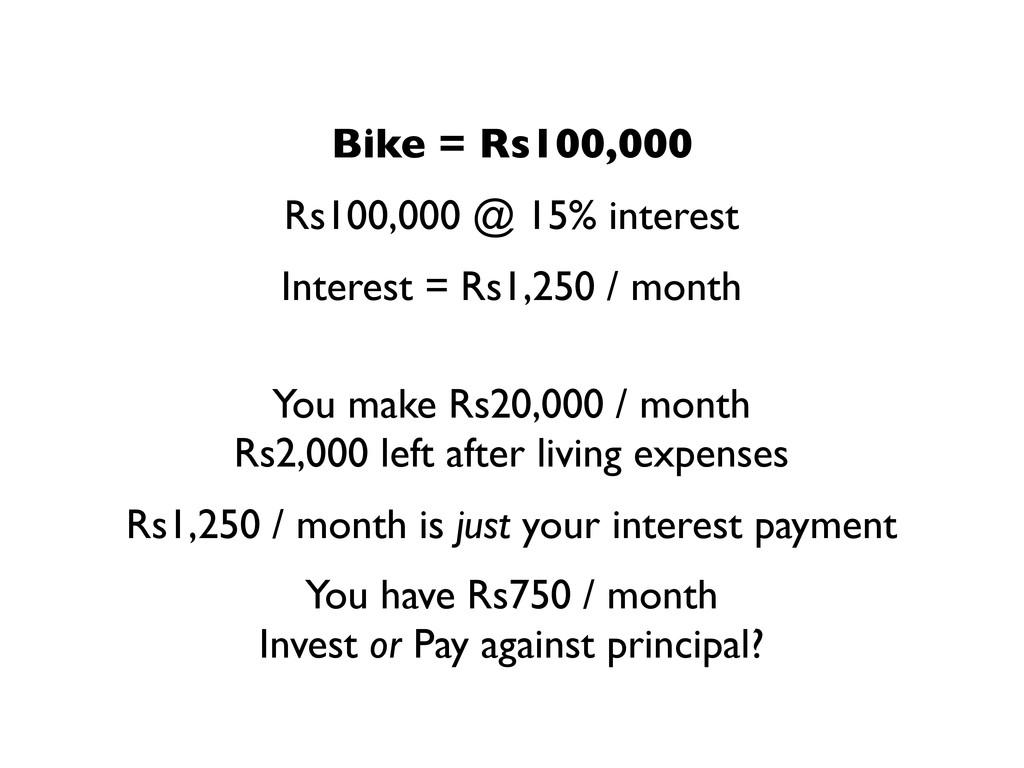 Rs100,000 @ 15% interest Interest = Rs1,250 / m...