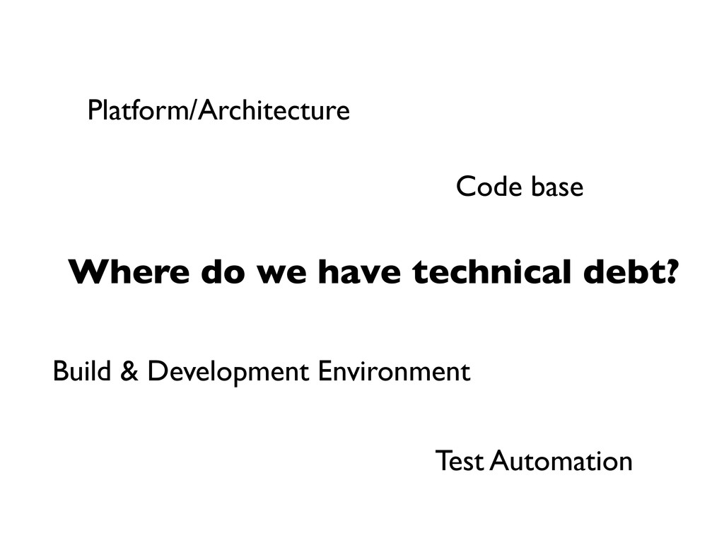 Where do we have technical debt? Code base Plat...
