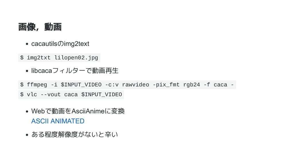 画像,動画 cacautilsのimg2text $ img2txt lilopen02.jp...