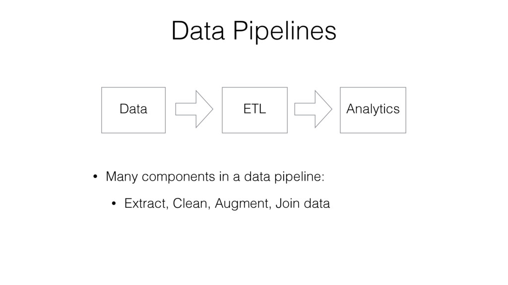 Data Pipelines Data ETL Analytics • Many compon...
