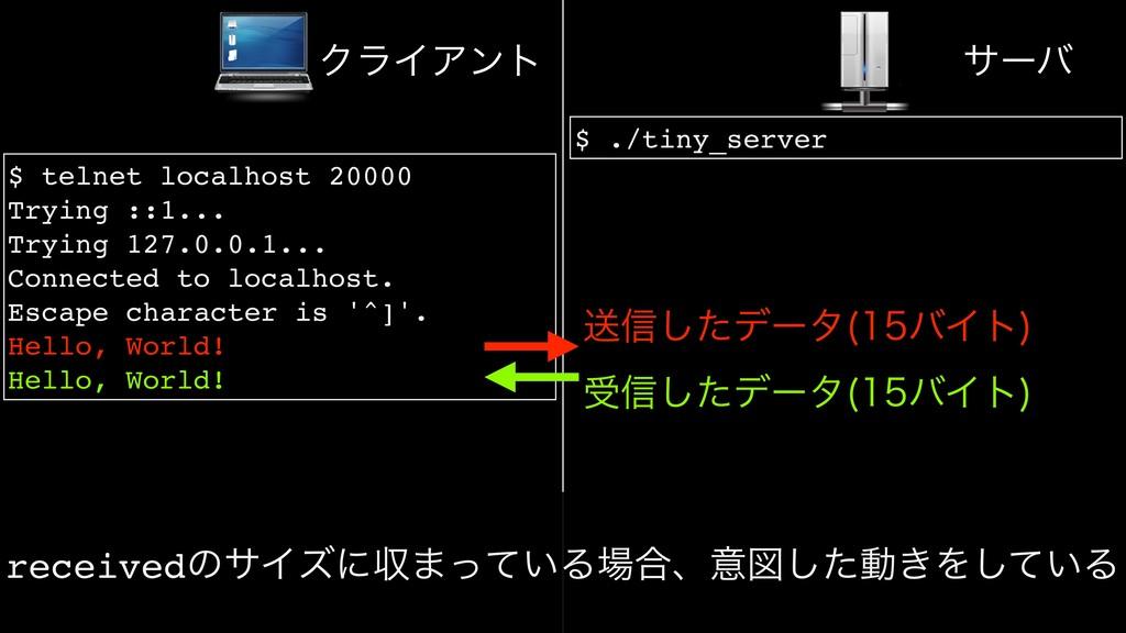 $ ./tiny_server $ telnet localhost 20000 Trying...