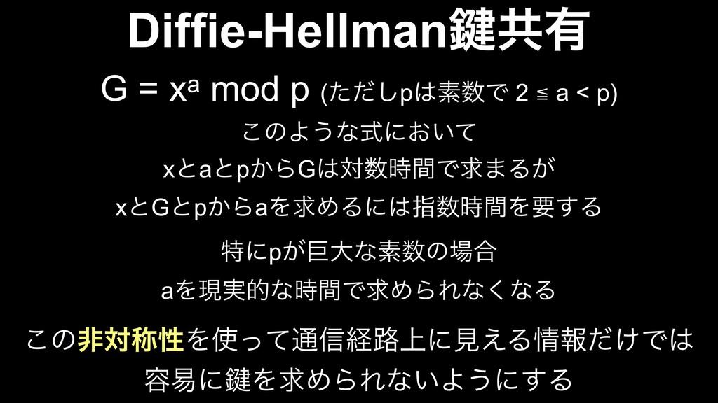 Diffie-Hellman伴ڞ༗ G = xa mod p (ͨͩ͠pૉͰ 2 ≦ a ...