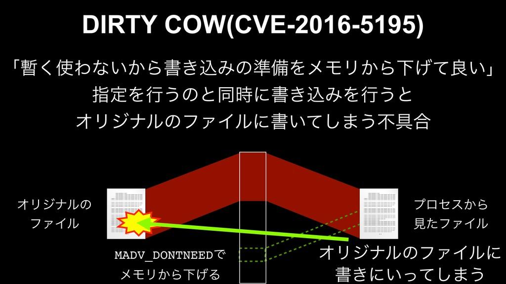 DIRTY COW(CVE-2016-5195) ʮ͘Θͳ͍͔Βॻ͖ࠐΈͷ४උΛϝϞϦ͔Β...