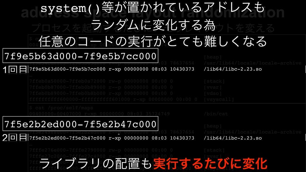 address space layout randomization $ cat /proc/...