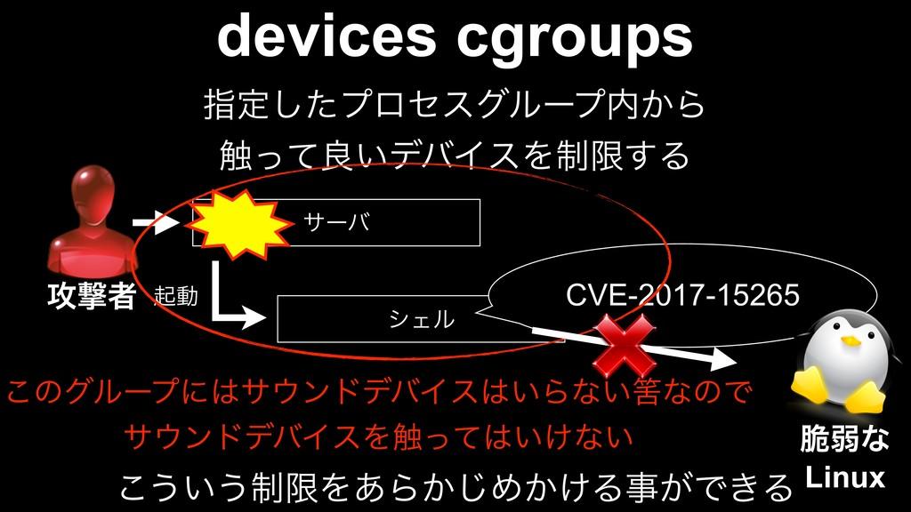 devices cgroups ࢦఆͨ͠ϓϩηεάϧʔϓ͔Β ৮ͬͯྑ͍σόΠεΛ੍ݶ͢Δ ...