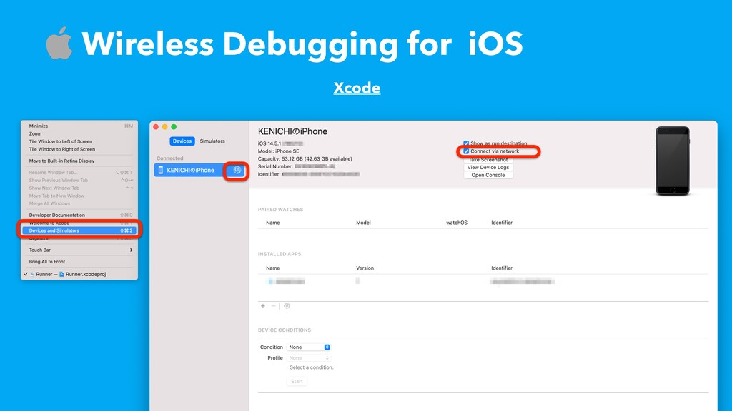 ɹWireless Debugging for iOS Xcode