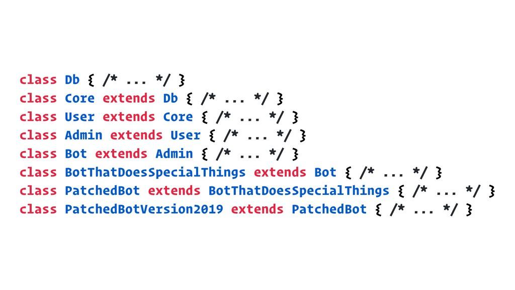 class Db { /* ... */ } class Core extends Db { ...
