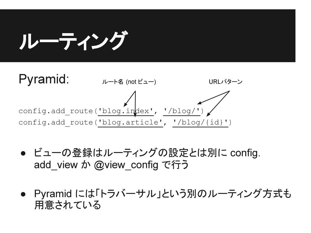 ルーティング Pyramid: config.add_route('blog.index', ...