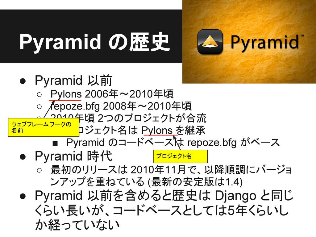 Pyramid の歴史 ● Pyramid 以前 ○ Pylons 2006年〜2010年頃 ...