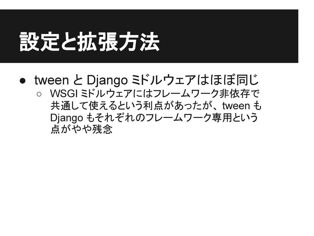 設定と拡張方法 ● tween と Django ミドルウェアはほぼ同じ ○ WSGI ミドル...
