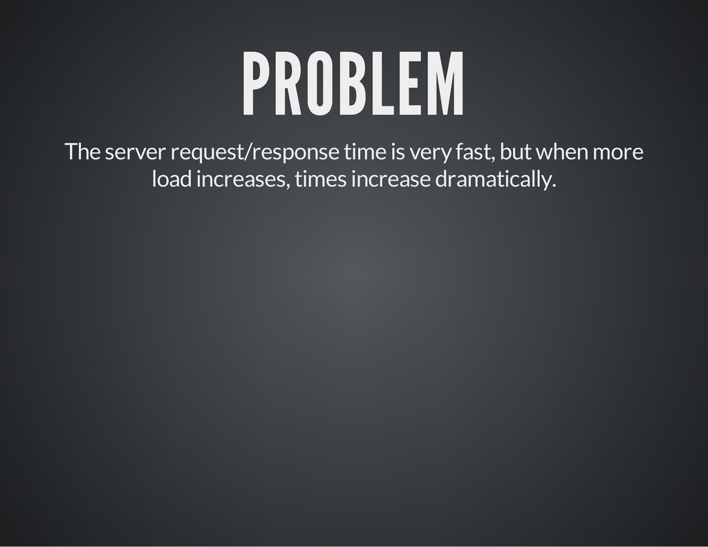 PROBLEM The server request/response time is ver...