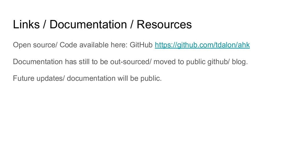 Links / Documentation / Resources Open source/ ...