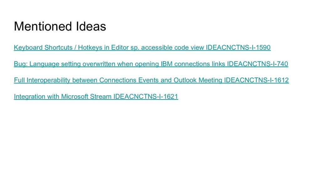 Mentioned Ideas Keyboard Shortcuts / Hotkeys in...