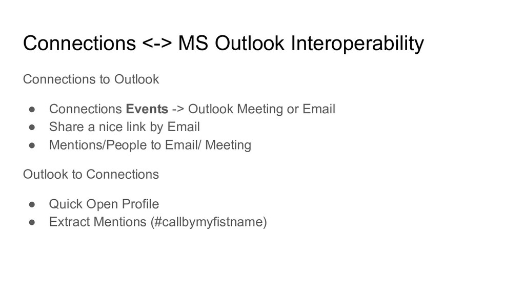 Connections <-> MS Outlook Interoperability Con...