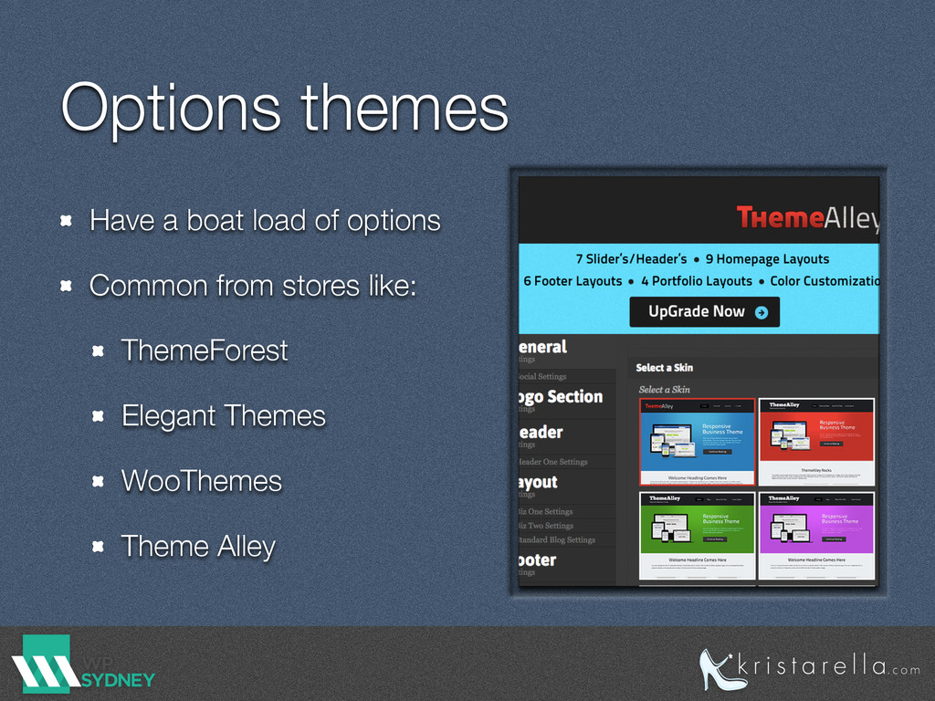 Options themes Have a boat load of options Comm...