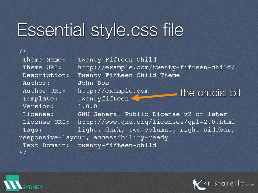 Essential style.css file /* Theme Name: Twenty F...