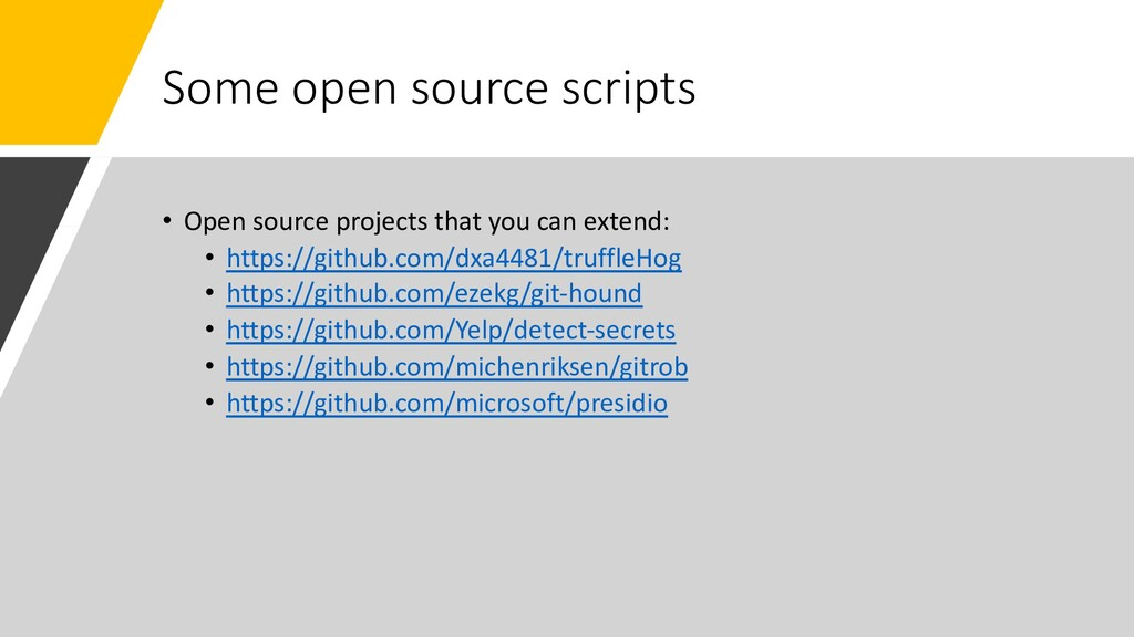 Some open source scripts • Open source projects...