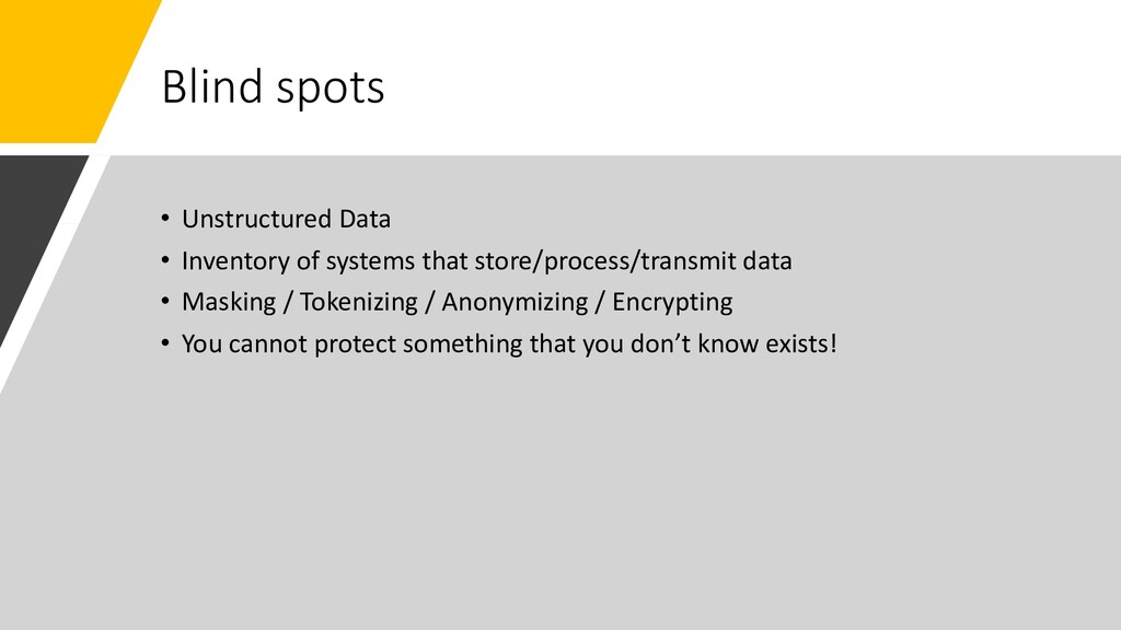 Blind spots • Unstructured Data • Inventory of ...