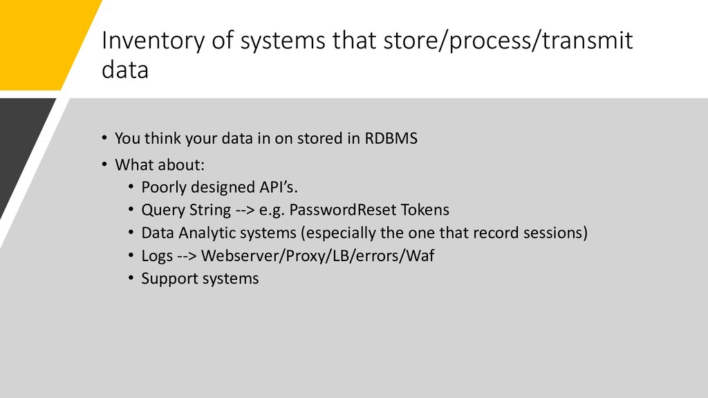 Inventory of systems that store/process/transmi...