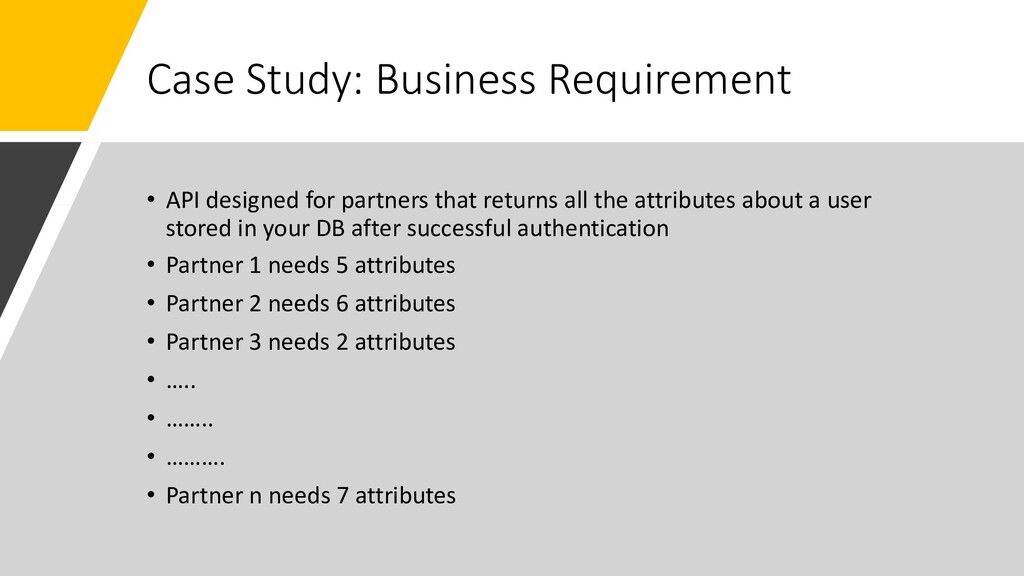 Case Study: Business Requirement • API designed...