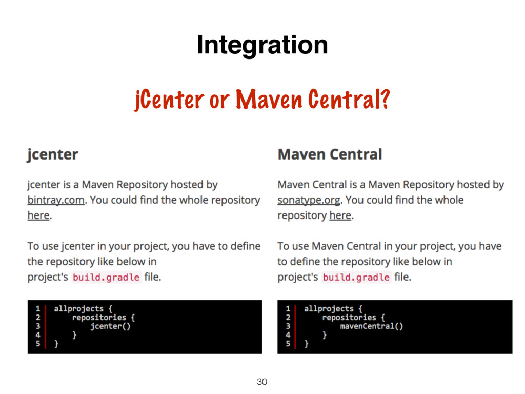 30 Integration jCenter or Maven Central?