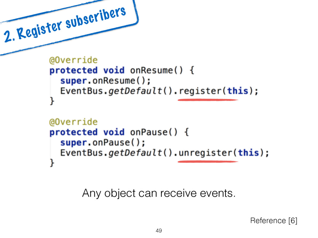 49 2. Register subscribers Reference [6] Any ob...
