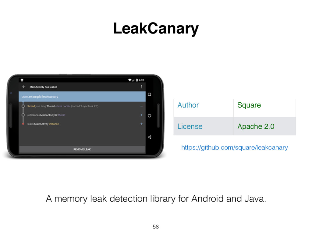 58 LeakCanary Author Square License Apache 2.0 ...