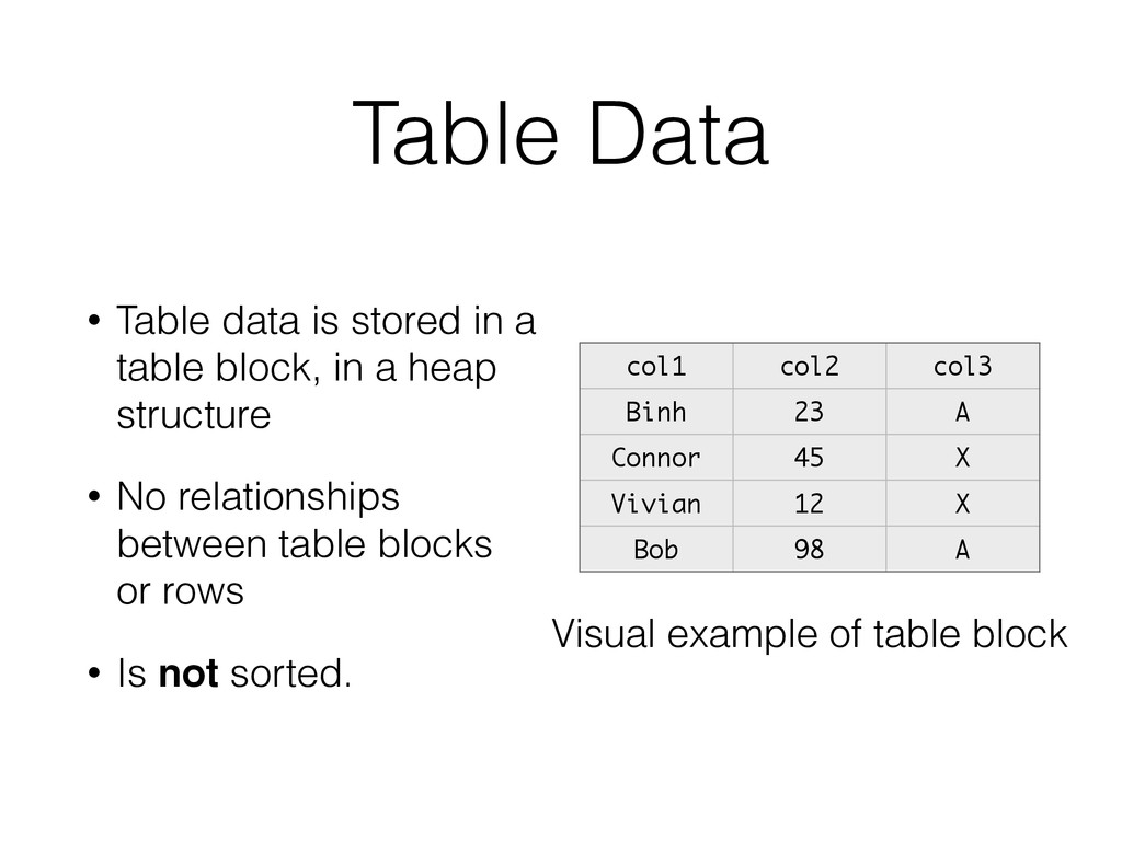 Table Data • Table data is stored in a table bl...