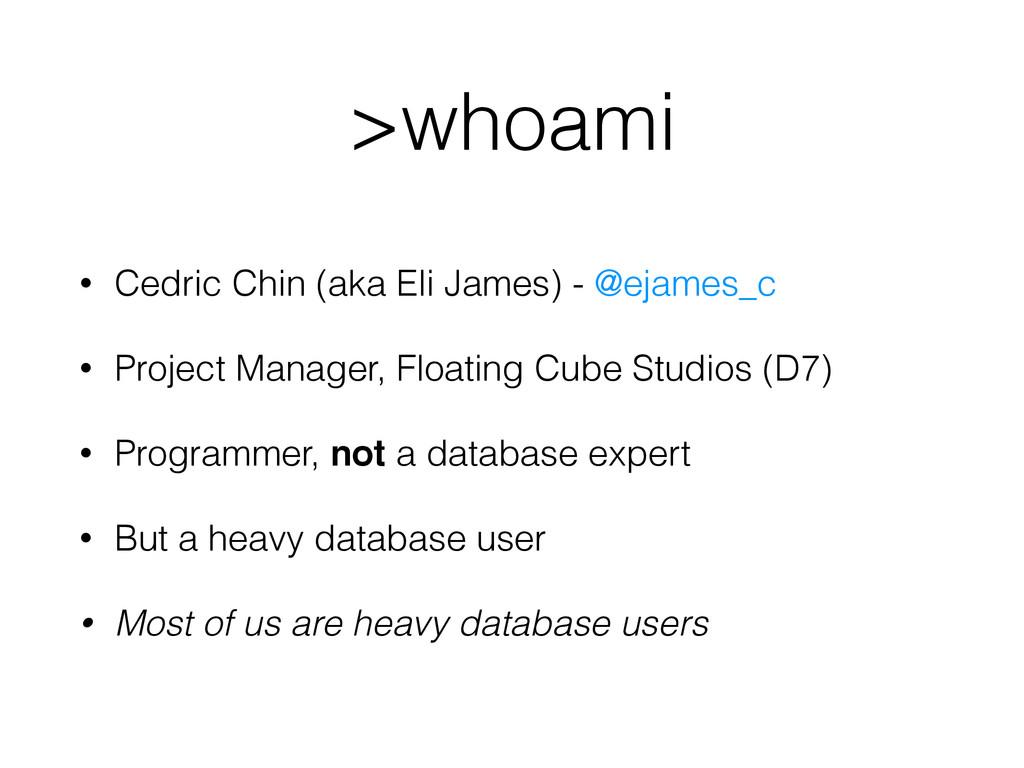 >whoami • Cedric Chin (aka Eli James) - @ejames...