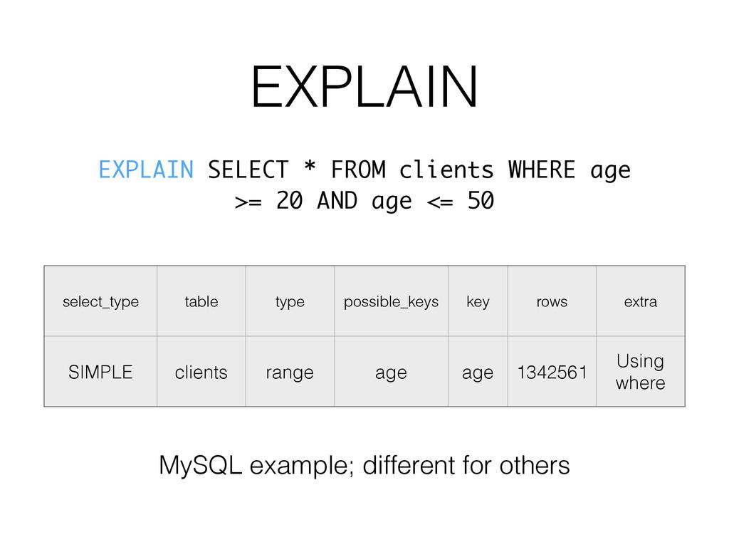 EXPLAIN select_type table type possible_keys ke...
