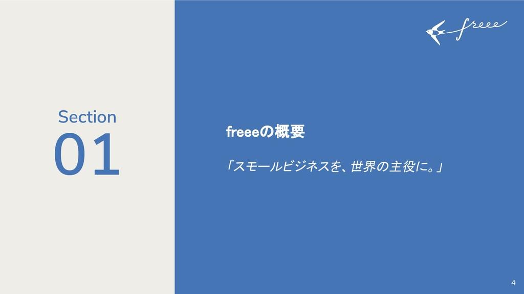 01 freeeの概要 「スモールビジネスを、世界の主役に。」 4 Section
