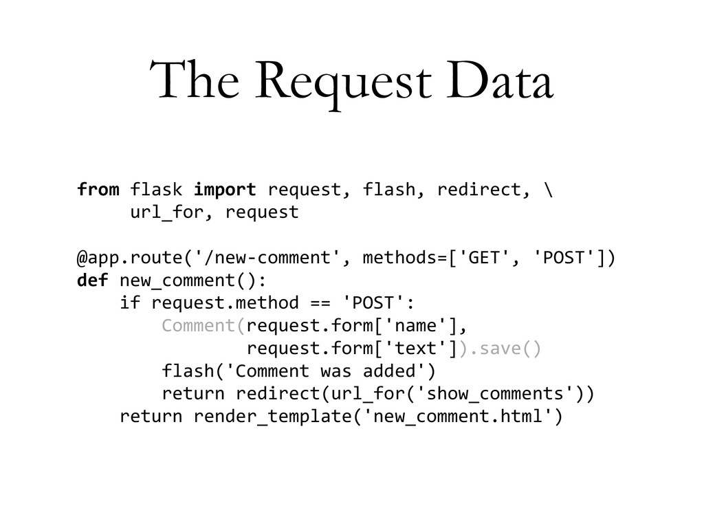 The Request Data from	