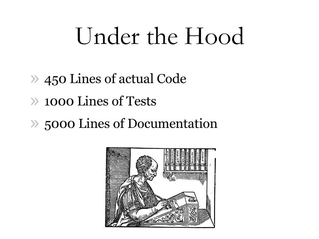 Under the Hood » 450 Lines of actual Code » 100...