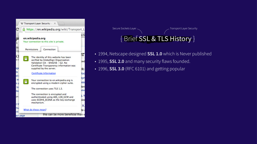{ Brief SSL & TLS History } • 1994, Netscape de...