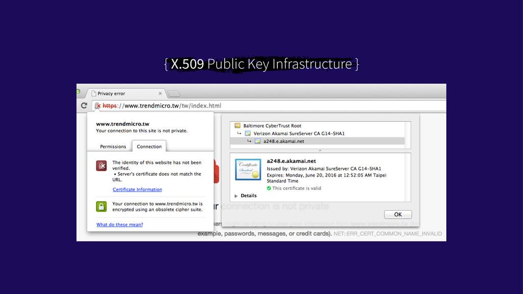 { X.509 Public Key Infrastructure }