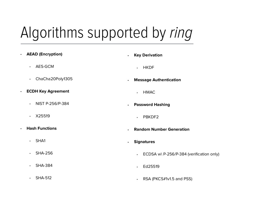 Algorithms supported by ring • AEAD (Encryption...