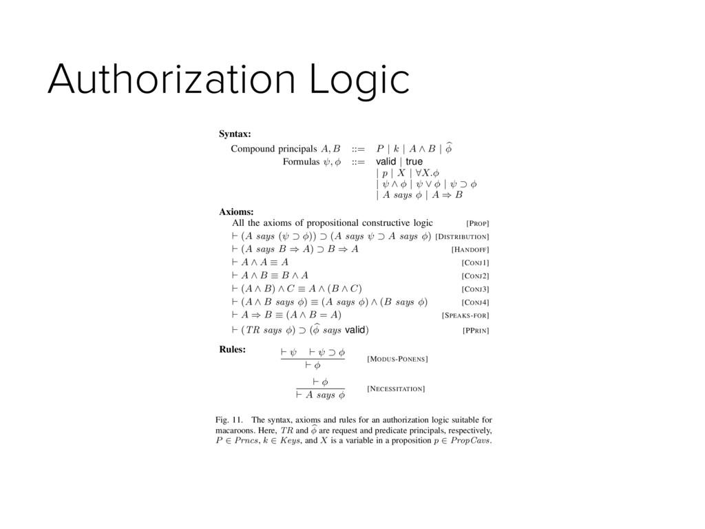 Authorization Logic Syntax: Compound principals...