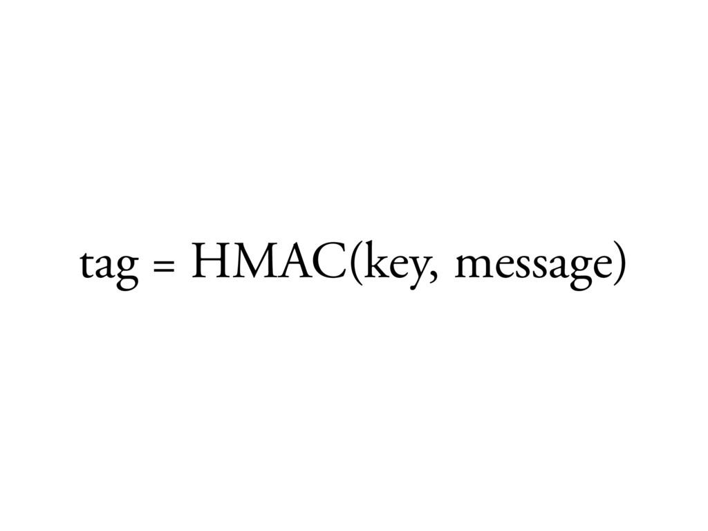 tag = HMAC(key, message)
