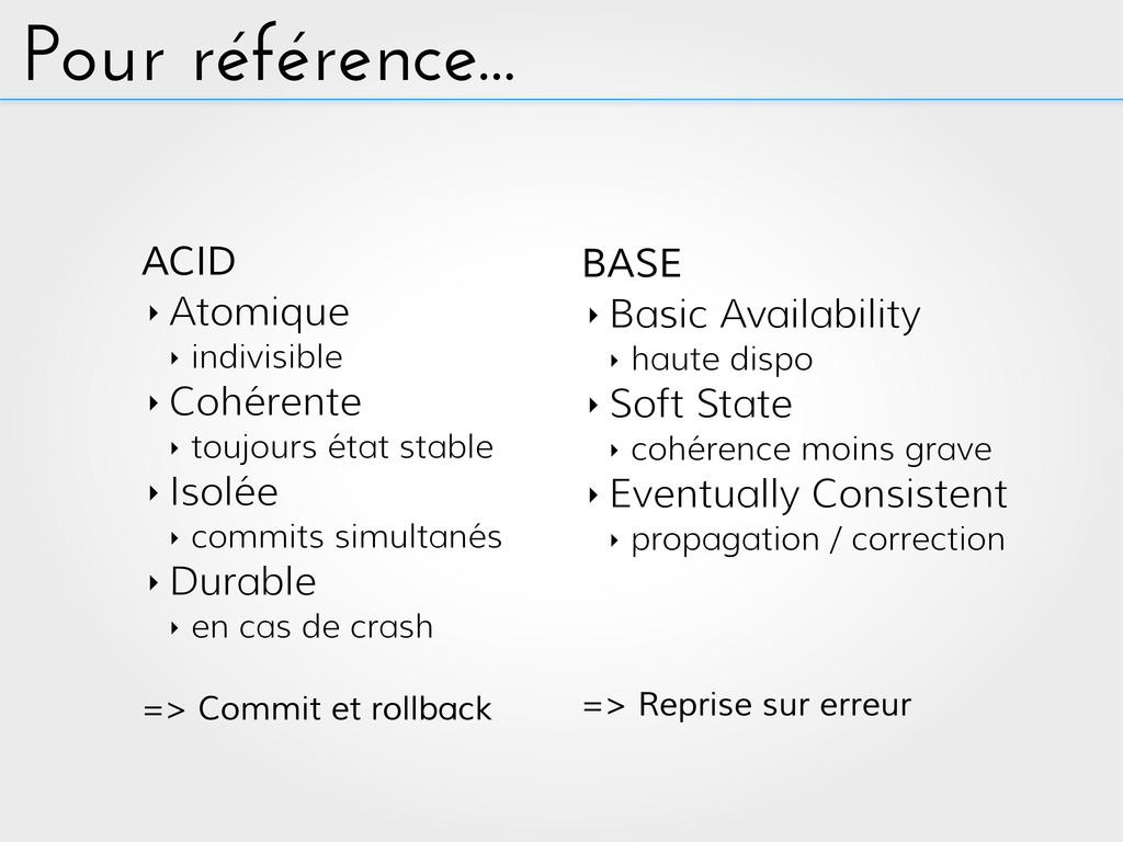Pour référence... ACID ‣ Atomique ‣ indivisible...