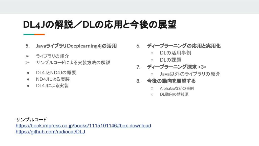 DL4Jの解説/DLの応用と今後の展望 5. JavaライブラリDeeplearning4jの...