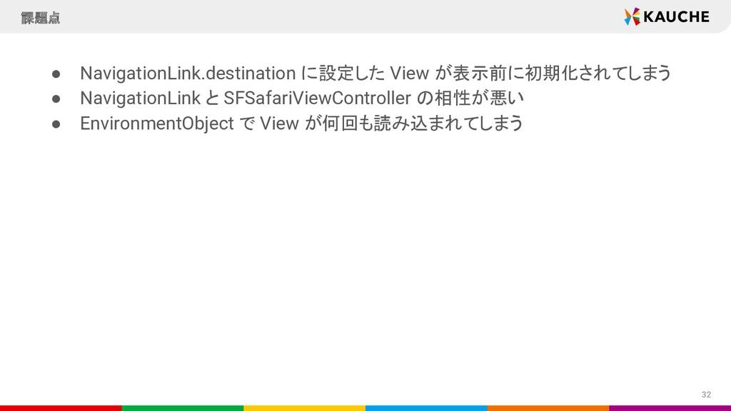● NavigationLink.destination に設定した View が表示前に初期...
