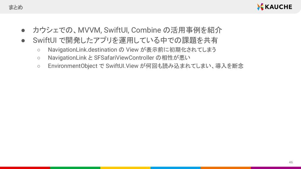 ● カウシェでの、MVVM, SwiftUI, Combine の活用事例を紹介 ● Swif...