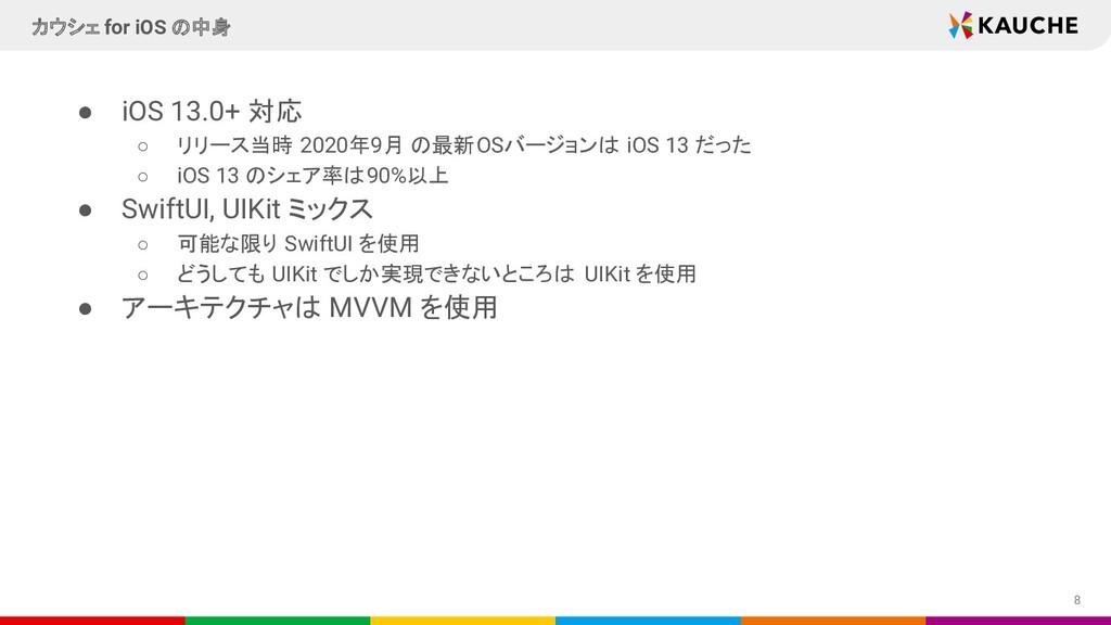 ● iOS 13.0+ 対応 ○ リリース当時 2020年9月 の最新OSバージョンは iOS...