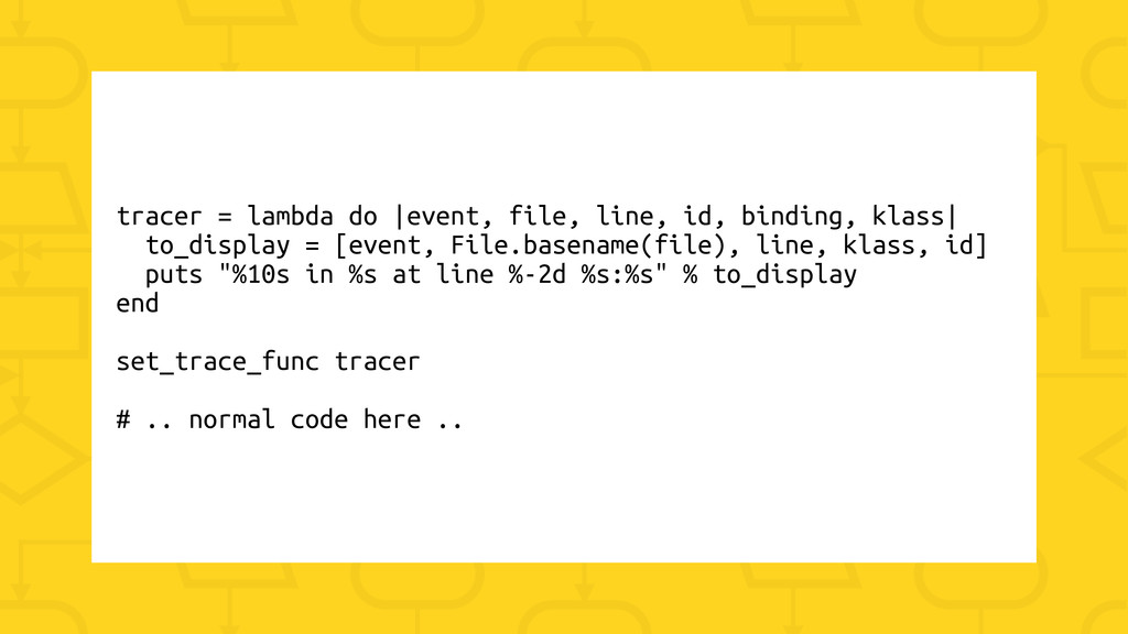 tracer = lambda do |event, file, line, id, bind...