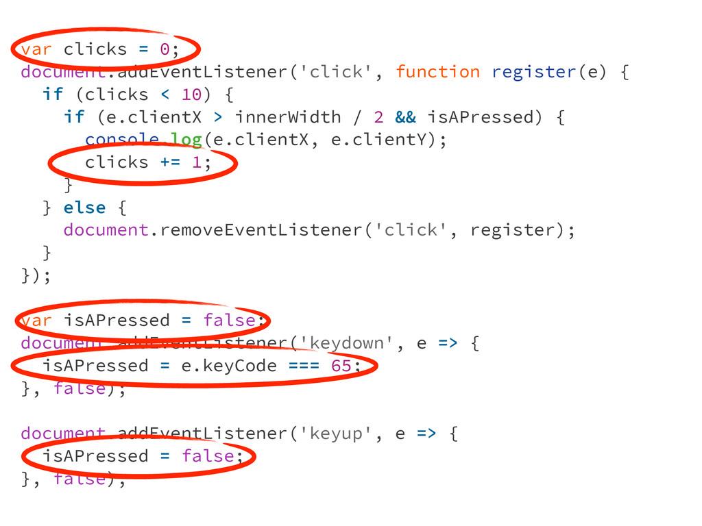var clicks = 0; document.addEventListener('clic...