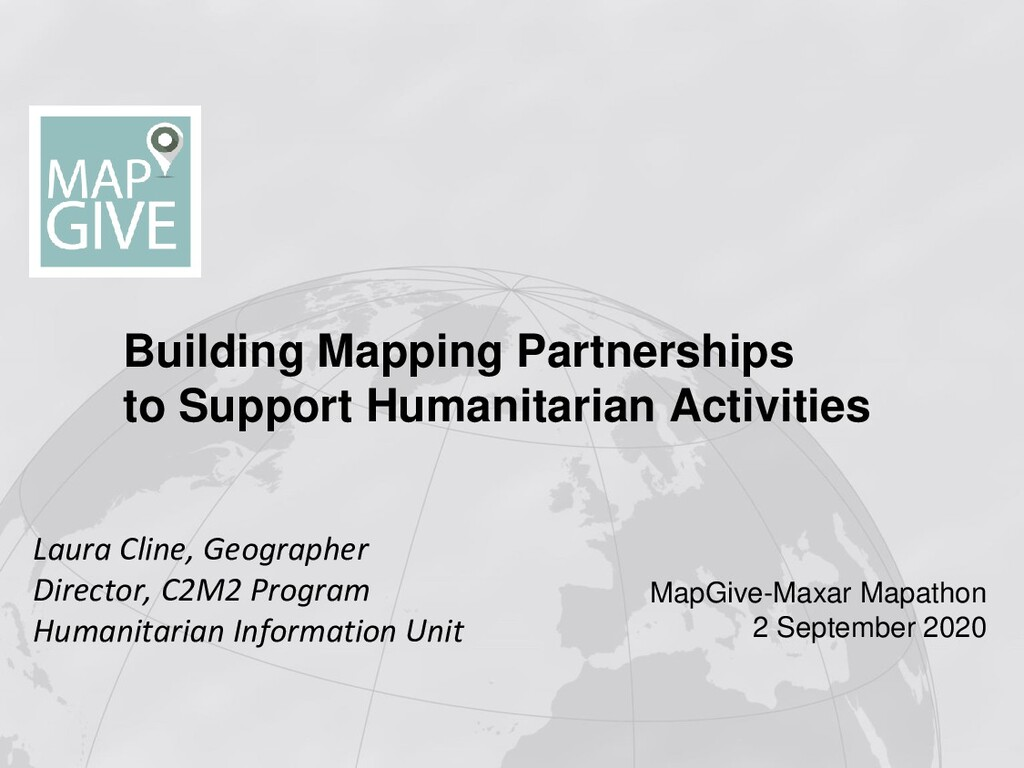 Building Mapping Partnerships to Support Humani...