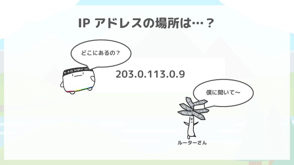 203.0.113.0.9 IP アドレスの場所は…? どこにあるの? 僕に聞いて〜 ルーター...