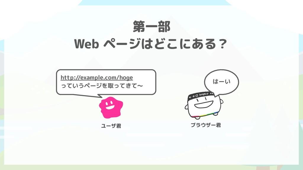 はーい 第一部 Web ページはどこにある? http://example.com/hoge ...