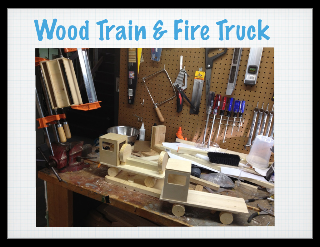 Wood Train & Fire Truck